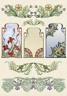 Flowers Pattern Design Prints Art Nouveau 49 Ideas For 2020 Motifs Art Nouveau, Art Nouveau Mucha, Azulejos Art Nouveau, Motif Art Deco, Art Nouveau Flowers, Art Nouveau Pattern, Art Nouveau Design, Design Art, Art Nouveau Tattoo