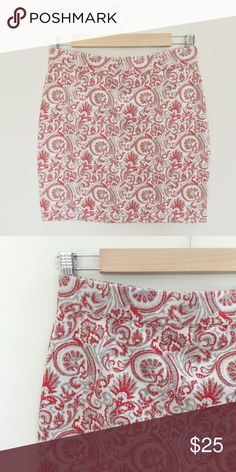 🆕Free People Jacquard Miniskirt Gorgeous red grey and gold patterned mini skirt by free people. It's stretchy and comfortable. Free People Skirts Mini
