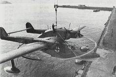 BV 138 MS Seedrache minesweeping aircraft being lifted onto a seaplane tender, date unknown
