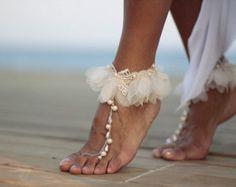 Danza de las perlas con sandalias Descalzas de guipur por FULYAK