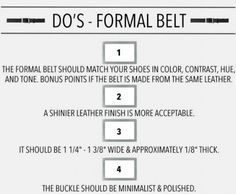 Make sure your belt matches your shoes and that it's not too thick. | 16 Style Charts Every Groom Should See Before The Wedding