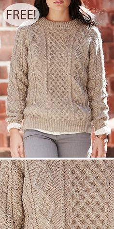 Free Knitting Pattern for Honeycomb Aran Sweater - Long-sleeved pullover with 3 . Free Knitting Pattern for Honeycomb Aran Sweater - Long-sleeved pullover with 3 types of cable pattern - a central 8 row. Baby Knitting Patterns, Jumper Knitting Pattern, Cable Knitting, Easy Knitting, Knitting Designs, Sweater Patterns, Knitting Ideas, Knitting Projects, Aran Jumper