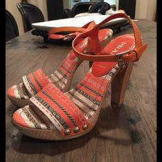 Fabulous print Prada WOODEN heels Fabulous hardly worn print Prada heels size 36. Better ️️ Prada Shoes Heels