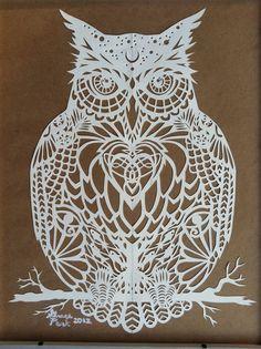 The Owl by GracePark.deviantart.com on @deviantART #Scherenschnitte