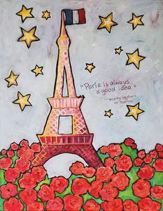 Mixed Media Painting, Mixed Media Canvas, Painting Abstract, France Eiffel Tower, Paris Art, I Love Paris, Whimsical Fashion, Painted Pumpkins, Paris Travel