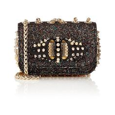 Christian Louboutin Sweety Charity Mini Chain Bag (€1.295) ❤ liked on Polyvore featuring bags, handbags, shoulder bags, bolsas, christian louboutin, purses, gold, chain strap shoulder bag, chain strap handbag and glitter purse