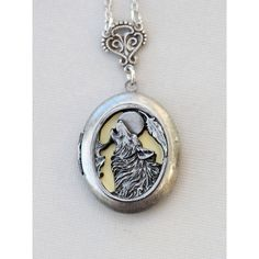 Wolf,Moon,Jewelry,Locket Pendant Necklace,I love you to the moon and... ❤ liked on Polyvore