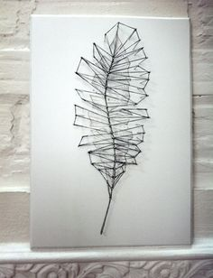 Geometric Feather Drawing with String artwork. by everyDigital