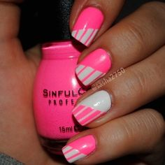 Pink and white mani... love the stripes