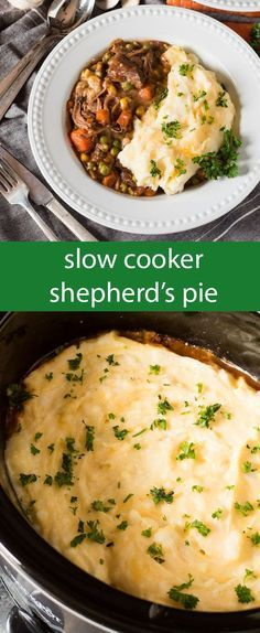 Slow Cooker Shepherd's Pie is an easy way to enjoy a classic casserole. Fork-tender roast beef simmered with veggies & topped with cheesy mashed potatoes. via @tastesoflizzyt