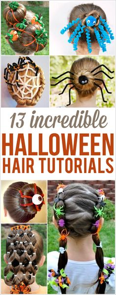 Halloween hairstyles for kids, girls, adults, teens and women! Tutorials and ideas for fun DIY Halloween hair styles with bows, spiders, clips, braids, buns and more. Crazy hair day ideas | easy | cute | pretty | simple | creative | for school | last minute