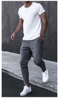 Casual Wear For Men, Stylish Mens Outfits, Stylish Clothes For Men, Men Casual Styles, Cool Outfits For Men, White Outfit For Men, Casual Mens Summer Clothes, Stylish Shirts, Men Nike Outfits