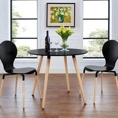 Modway Track Contemporary Modern Round Kitchen and Dining Room Table in Black Dining Table Small Space, Simple Dining Table, Modern Kitchen Tables, Circular Dining Table, Round Kitchen, Round Dining Table, Small Space Living, Dining Room Table, Small Spaces