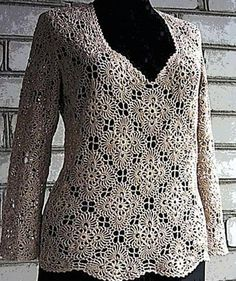 Crochet sweater with free  diagram on the website for the motif