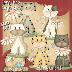 Spring Cats 1 - Clip Art by Primsy Doodle