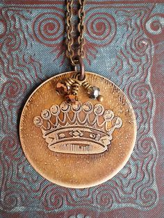 Vintage Royal Crown necklace accented with Czech glass crystal
