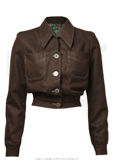 1940s Style Americana Buttoned Jacket in Brown wool