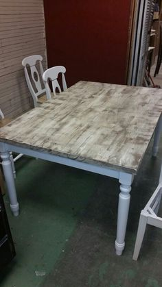 Superbe Custom Built Farm Table With Distressed Top And Painted Apron And Legs By  Gary