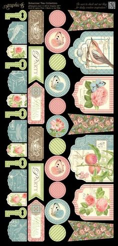 Cardstock Banners 2 from our new collection, Botanical Tea! In stores in early February Art Vintage, Vintage Tags, Vintage Labels, Vintage Paper, Graphic 45, Printable Labels, Printable Paper, Scrapbook Paper, Scrapbooking