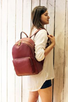 Giò Giò 1 , Leather BackPack, handmade in Italy di LaSellerieLimited su Etsy