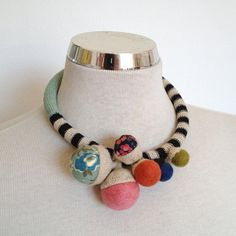 On sale! Before was $370  Short statement necklace handmade in crochet with cotton and linen fibbers super colourful perfect for summer. Very light and