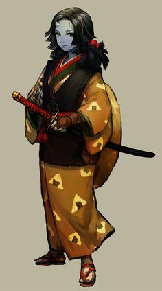 f Halfling Monk Robes Katana midlvl monastery Fantasy Warrior, Fantasy Races, Fantasy Rpg, Anime Fantasy, Dark Fantasy, Ronin Samurai, Female Samurai, Samurai Art, Female Character Design
