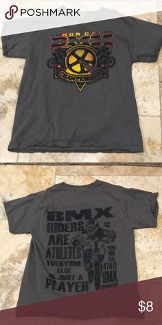 333c9b391a9 BMX tshirt Nor Cal Championship M youth Boys medium grey tshirt with print  designs on front