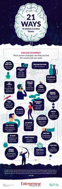 21 ways to unlock your creative genius. #infographics #websitemagazine