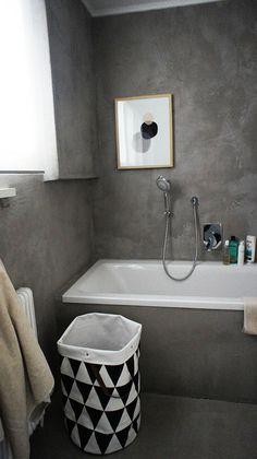 I want this laundry hamper. Bad Inspiration, Bathroom Inspiration, Grey Bathrooms, Small Bathroom, Downstairs Bathroom, Bathroom Layout, Bathroom Wall, Concrete Bathroom, Concrete Walls