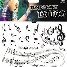 sheet music temporary tattoo - Google Search