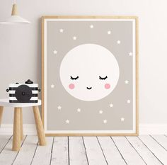 SALE Sleepy Eyes Scandinavian Nursery Print sleepy moon print childrens art, nursery print, nursery art, baby room, kids room Print moon B This is a DIGITAL wall art download item, NO PHYSICAL item, and your purchase does not include a frame or mat. ------------------------- ♥