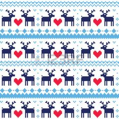 Buy Nordic Seamless Pattern with Deer and Hearts by RedKoala on GraphicRiver. Winter red, blue, and navy vector background – scandynavian kntting style FEATURES: Vector Shapes All groups hav. Knitting Charts, Knitting Stitches, Knitting Patterns, Crochet Patterns, Nordic Pattern, Scandinavian Pattern, Embroidery Patterns, Cross Stitch Patterns, Print Patterns
