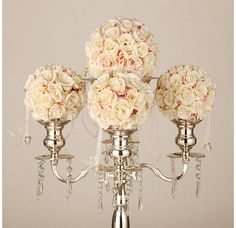 Gold/Silver Candelabra/ Floral Riser/Wedding Centerpieces/Flower Ball Stand by FeatherParadise on Etsy