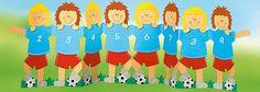 voetbalteam met sjabloon