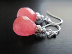 Pink Gemstone Earrings Sterling Silver Peachy by DesignsByTahra, $25.00