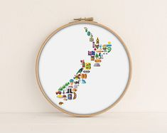 New Zealand Cross Stitch Stitch the complete icon map for NZ. Oysters in Bluff, Sky Tower in Auckland, Beehive in Wellington and fish and chips can just be anywhere right? also a bunch more geographically correct cross stitch pop culture icons can you spot them all? Also, super