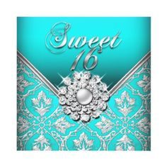 This is cute, I could change the sweet 16 to Happy 35th or something!!!  Sweet Sixteen Sweet 16 Birthday Damask Teal Custom Invite
