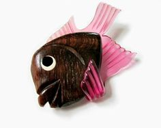 Carved Pink Lucite and Wood Fish Brooch
