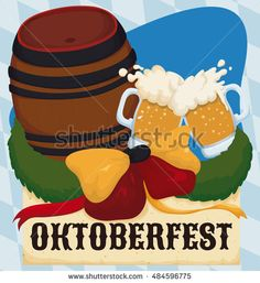 Commemorative design to celebrate Oktoberfest with keg, toast with beer bow with…