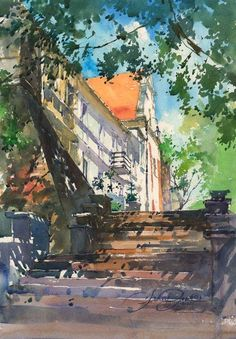 Beautiful watercolor painting of a Mediterranean looking casa, house, or chalet, lovely staircase, trees.
