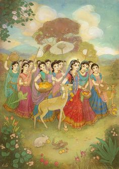 Radha walks to Nandagaon by Nila-Vanwolf on DeviantArt Arte Krishna, Radha Krishna Photo, Krishna Radha, Radha Rani, Krishna Drawing, Krishna Painting, Lord Krishna Images, Radha Krishna Pictures, Indiana