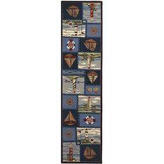 Safavieh Hand-hooked Nautical Blue Wool Runner Rug - x