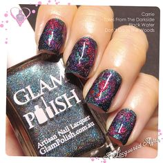 Glam Polish Gruesome Movie and Dark Terror Duos, featuring Carrie, Tales From The Dark Side and Black Water randomly dragged through each other with a toothpick over Don't Go In The Woods as the base. Nail art.