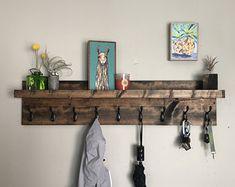 Coat rack with shelf entryway organizer towel rack key hooks wall mounted c Diy Coat Rack, Rustic Coat Rack, Coat Rack Shelf, Wall Mounted Coat Rack, Hanging Coat Rack, Diy Coat Hooks, Entry Coat Rack, Towel Organization, Entryway Organization