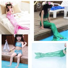 Sale 24% (10.99$) - Girl Little Mermaid Tail Bikini Set Swimmable Swimming Princess Costume Swimsuit