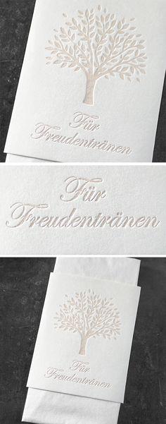 Für Freudentränen. Letterpress-Banderole für Taschentücher. Letterpress, Container, Bunting Bag, Business Cards, Letterpress Printing, Letterpresses