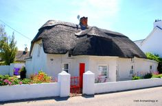 Some Traditional thatched cottages in Kilmore Quay, Wexford...