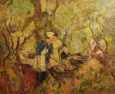 Francis Todhunter and an afternoon with family, The Cookout, 20x24 Oil on Board