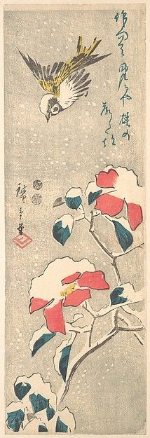 Utagawa Hiroshige (Japanese, 1797–1858). Sparrow and Snow-covered Camellia (Tsubaki), ca. 1845. The Metropolitan Museum of Art, New York. The Howard Mansfield Collection, Purchase, Rogers Fund, 1936 (JP2535)