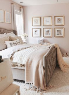 Soft pink and neutral bedroom. Bedroom ideas A glamorous inspo wall with Framebridge Pink Master Bedroom, Neutral Bedroom Decor, Bedroom Decor For Small Rooms, Neutral Bedrooms, Pink Bedrooms, Room Ideas Bedroom, Gold Bedroom, Luxurious Bedrooms, Dream Bedroom